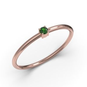 10K ROSE GOLD ROUND CUT EMERALD CZ RING
